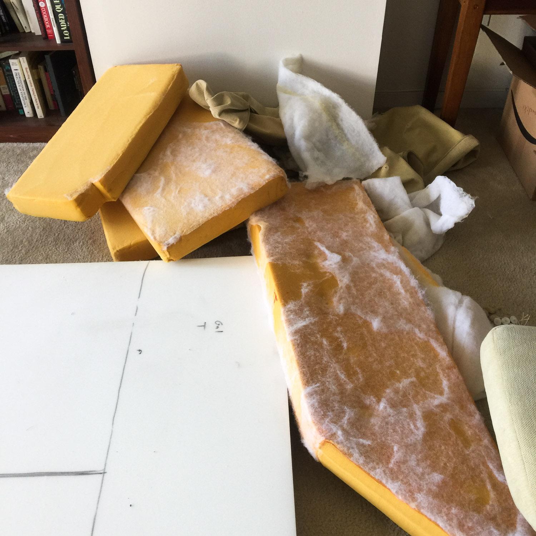 Old foam... New foam ready to be cut...